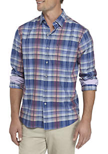 Long Sleeve Puerto Prism Plaid Button Down Shirt