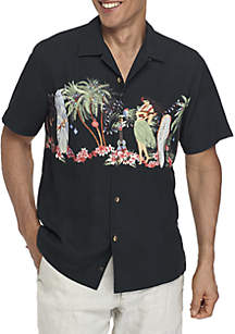 Short Sleeve Mele Kelikimaka Button Down Shirt