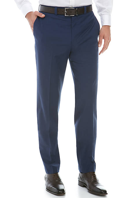 Calvin Klein Navy Wool Stretch Dress Pants