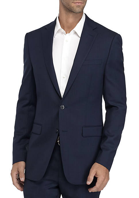 Calvin Klein Blue and Charcoal Birdseye Suit Coat