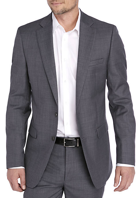 Calvin Klein Grey Sharkskin Suit Coat