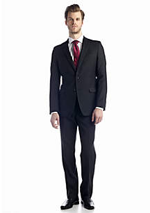Black Pinstripe Slim Fit Malik Basic Suit