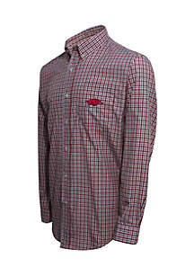 Arkansas Razorbacks Long Sleeve 3-Color Gingham Check Woven Shirt