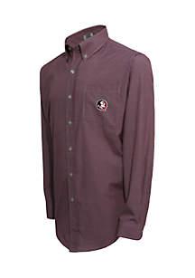 Florida State Seminoles Long Sleeve Small Gingham Check Woven Shirt
