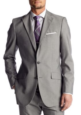 Madison Slim-Fit Light Gray Suit Separate Coat Style