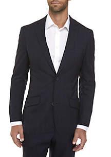 Navy Plaid Coat