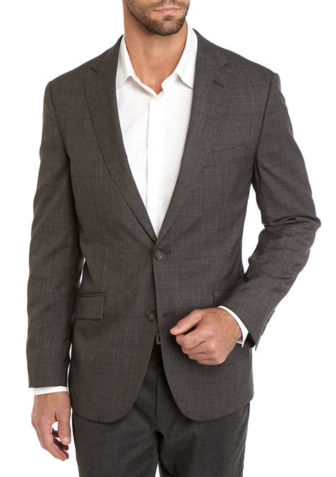 Madison Mens Gray Plaid Sport Coat
