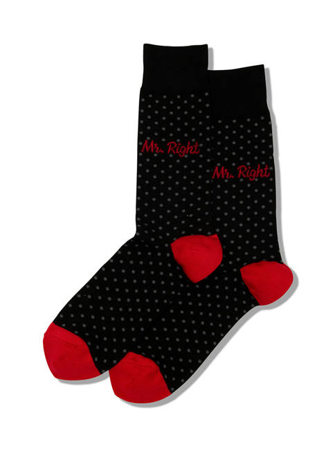 Hot Sox® Mens Mr. Right Crew Socks