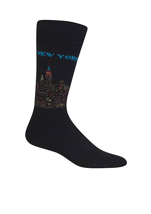 New York  Skyline Crew Socks - Single Pair