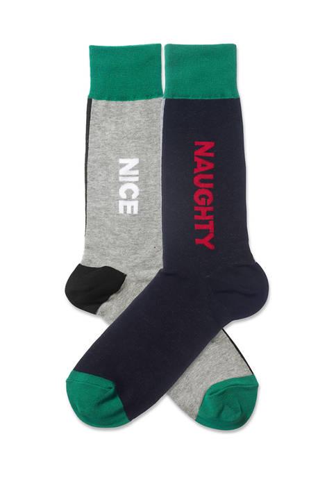 Mens Naughty And Nice Crew Socks