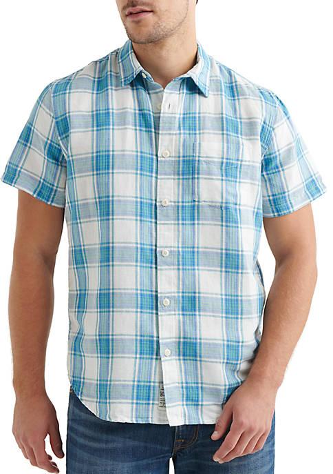Short Sleeve Plaid Button Front Shirt