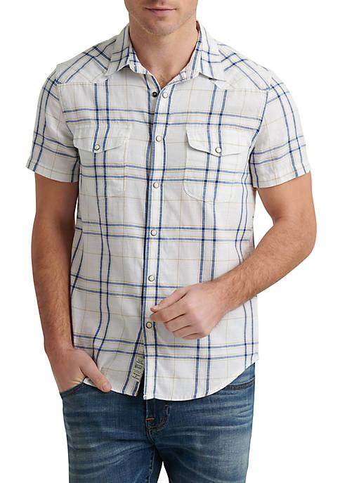 Lucky Brand Plaid Santa Fe Western Shirt