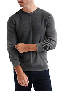 Washed V-Neck Pullover