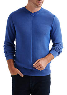Washed V-Neck Pullover