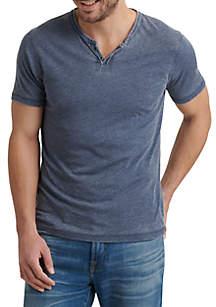 Lucky Brand Short Sleeve Burnout Button Notch Shirt