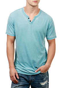 Short Sleeve Burnout Button Notch Shirt