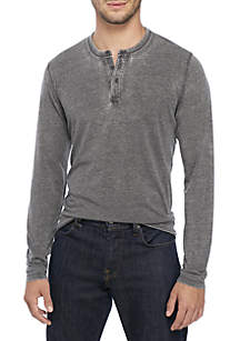 Long Sleeve Suede Burnout Henley Top