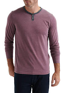 Long Sleeve Colorblock Burnout Notch Tee