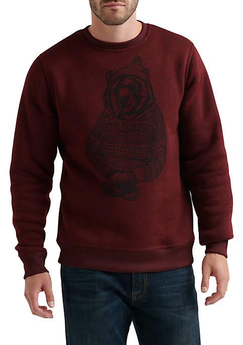 Lucky Brand Shearless Fleece Bear Crew Sweatshirt