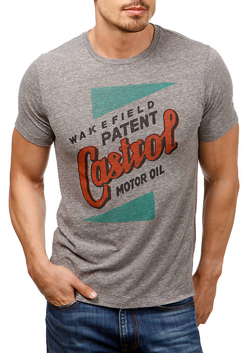 Lucky Brand Short Sleeve Castrol Patent Graphic Tee