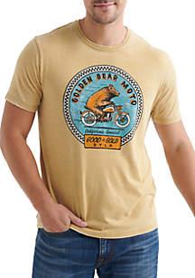 Lucky Brand Gold Bear Moto Tee