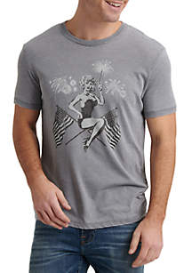 Lucky Brand Patriotic Pin Up Graphic T Shirt