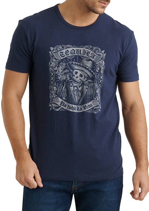 American Navy Tequila Skull Graphic T-Shirt