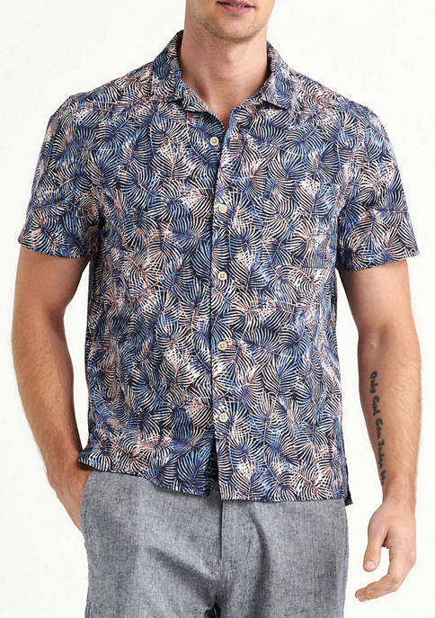 Lucky Brand Blue Print Short Sleeve Club Collar