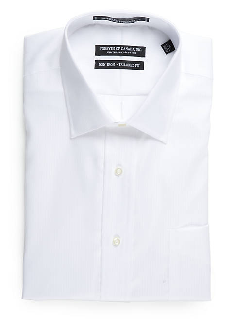 Tailored Fit Non-Iron Herringbone Dress Shirt