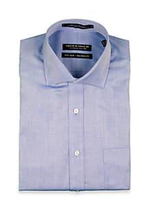 Twill Solid Cornflower Chambray Spread Collar Shirt