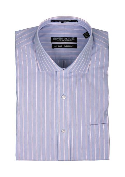 Forsyth of Canada Mens Textured Stripe Dress Shirt