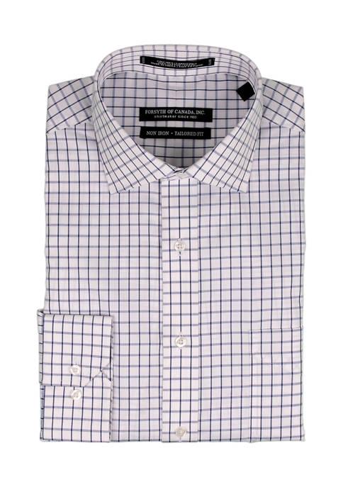 Forsyth of Canada Navy Grid Dobby Dress Shirt