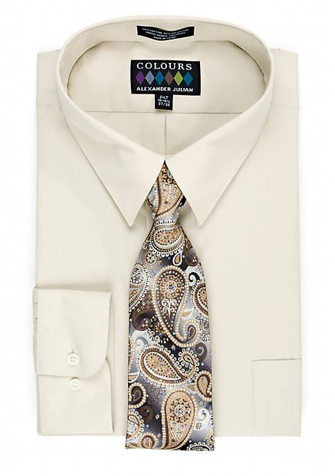 Big & Tall Boxed Dress Shirt & Tie Set