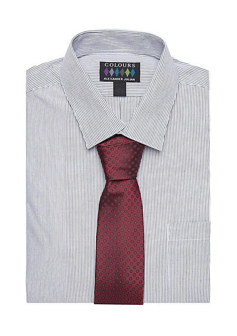 Alexander Julian Fancy Stretch Collar Button-Front Dress Shirt