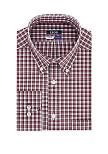 Big & Tall White Ground Tartan Long Sleeve Shirt