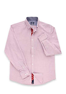 Collegiate All Over Stretch Slim Fit Button Down Dress Shirt