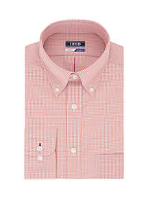 IZOD Regular Stretch Mini Check Button Down Shirt