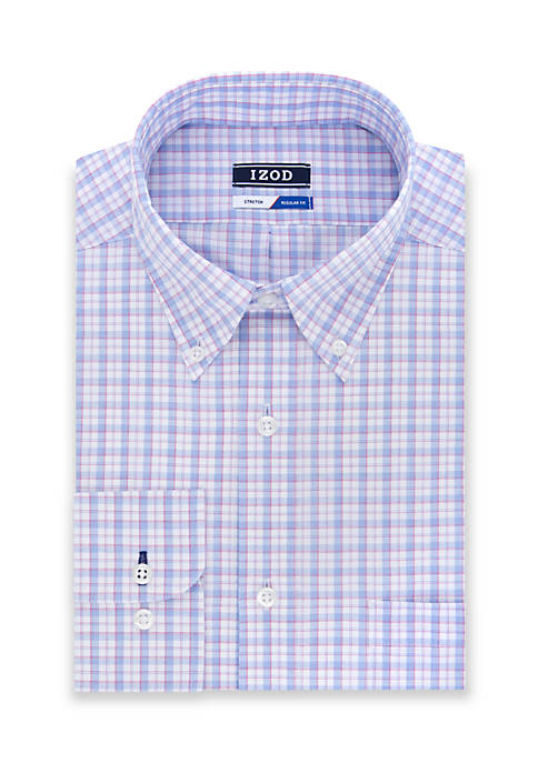 IZOD Regular Stretch White Ground Multi Dress Shirt