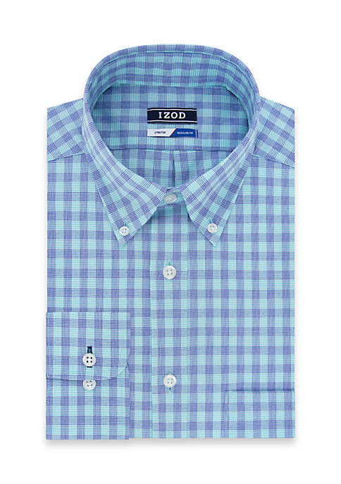 IZOD Regular Stretch Multi Line Check Dress Shirt