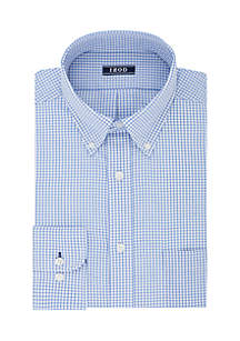 IZOD Big & Tall All-Over Checkered Print Stretch Shirt