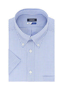 IZOD Short Sleeve Allover Stretch Regular Fit Dress Shirt
