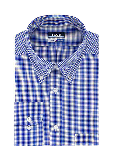 IZOD Regular Fit Stretch Mini Check Button Down