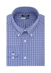 Regular Fit Stretch Mini Check Button Down Shirt