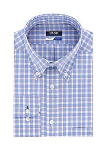 Regular Fit Stretch Plaid Button Down Shirt