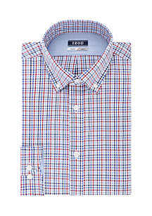 Slim Fit Stretch Plaid Button Down Shirt