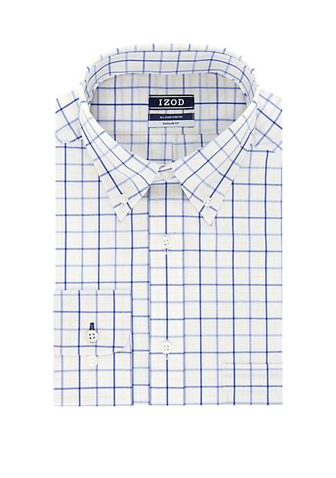 Regular Fit Windowpane Plaid Shirt
