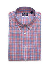 IZOD Regular Fit Stretch Plaid Button Down Shirt