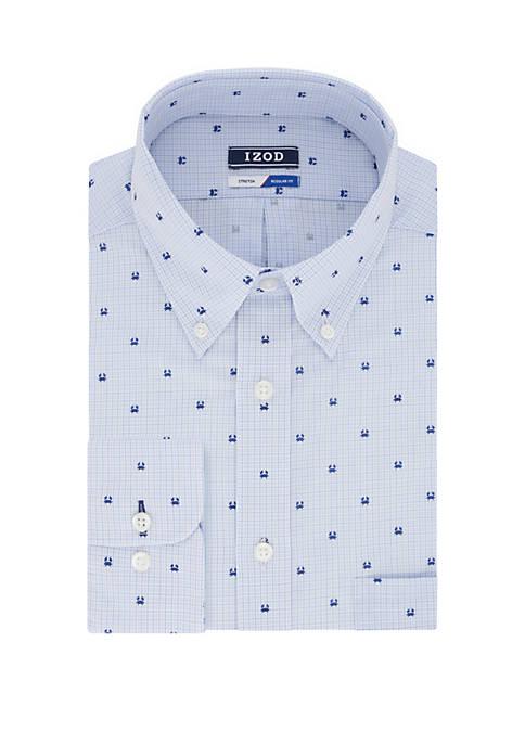 IZOD Regular Fit Mini Crab Print Shirt