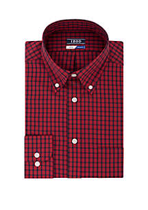 Slim Fit Plaid Red and Black Button Down Shirt