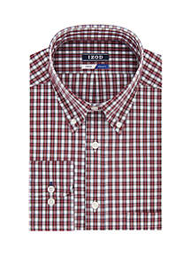 Slim Fit Red and White Plaid Dress Shirt